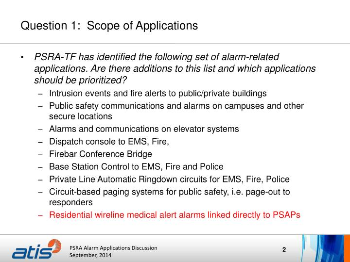 Question 1 scope of applications