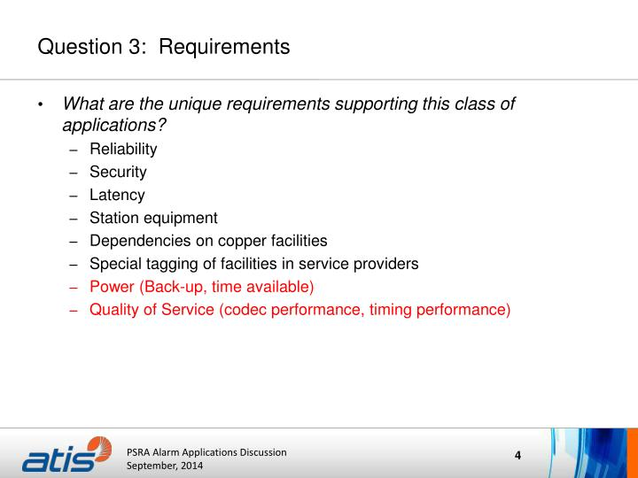 Question 3:  Requirements