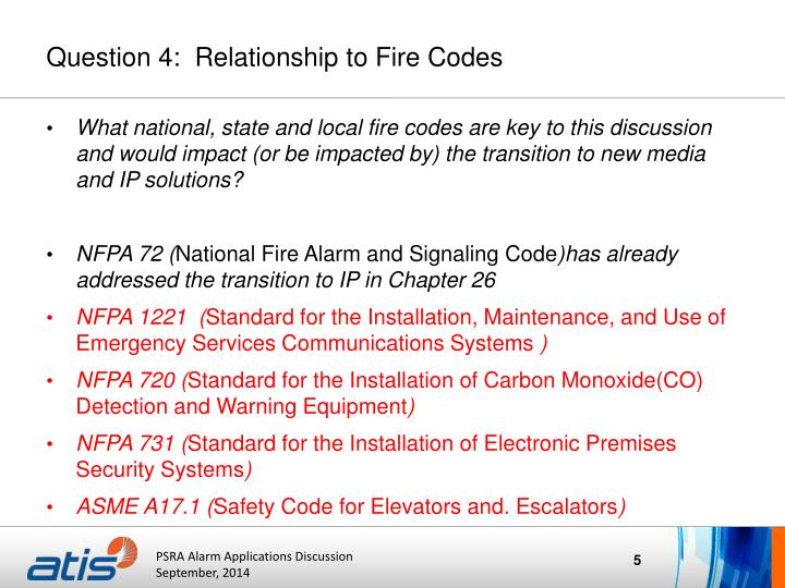 Question 4:  Relationship to Fire Codes