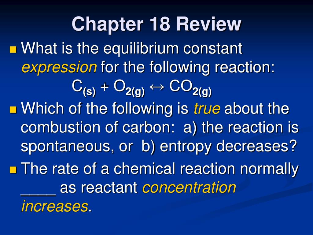 """PPT - Chapter 18 Review """"Reaction Rates and Equilibrium ..."""