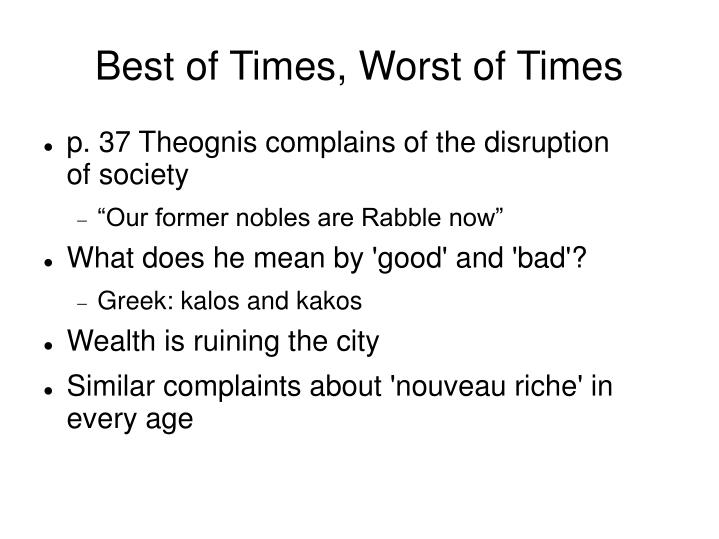 Best of times worst of times