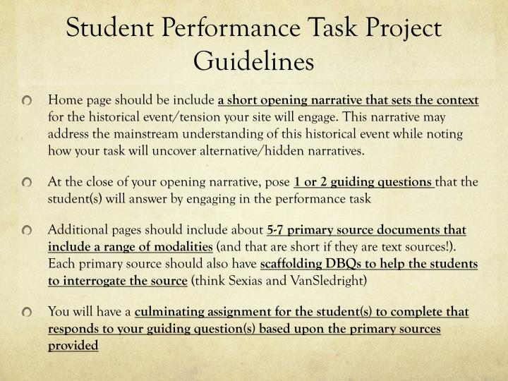 Student Performance Task Project Guidelines