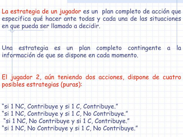 La estrategia de un jugador