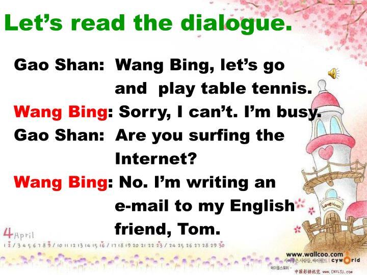 Let's read the dialogue.