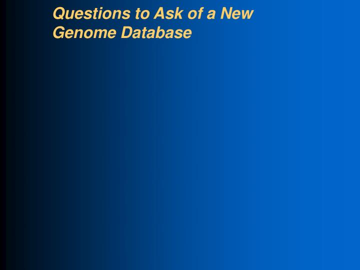 Questions to Ask of a New