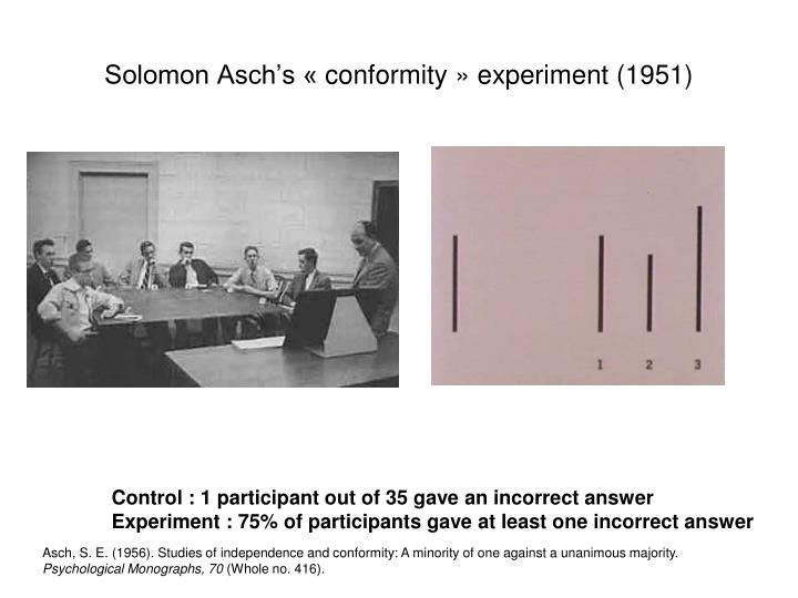 Solomon Asch's «conformity» experiment (1951)