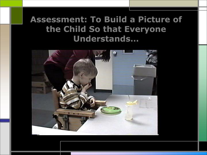 Assessment: To Build a Picture of the Child So that Everyone Understands…