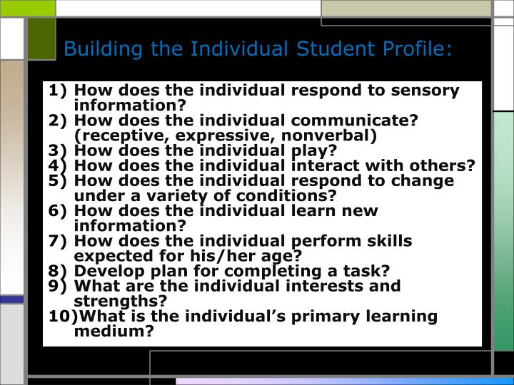 Building the Individual Student Profile: