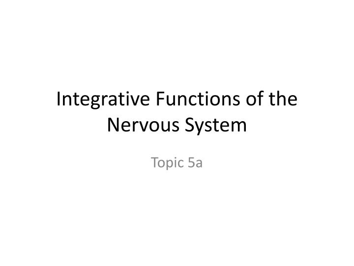 integrative functions of the nervous system n.