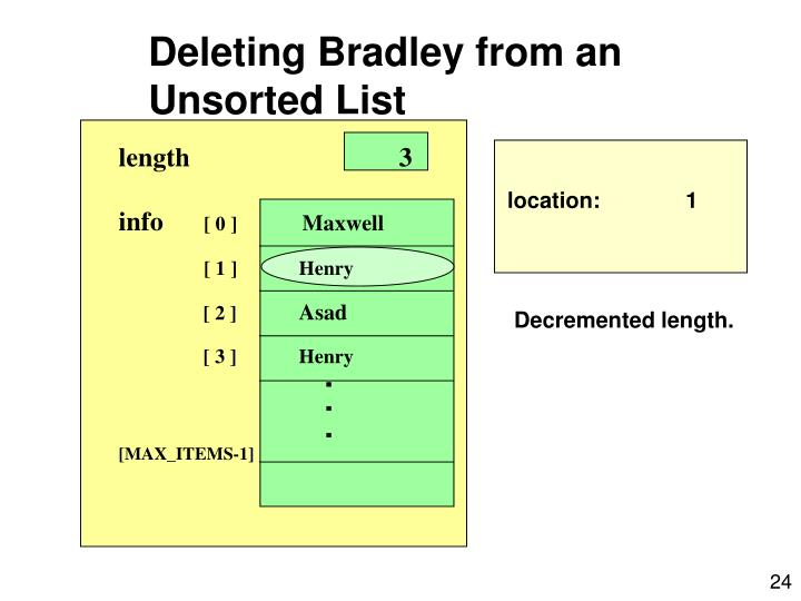 Deleting Bradley from an