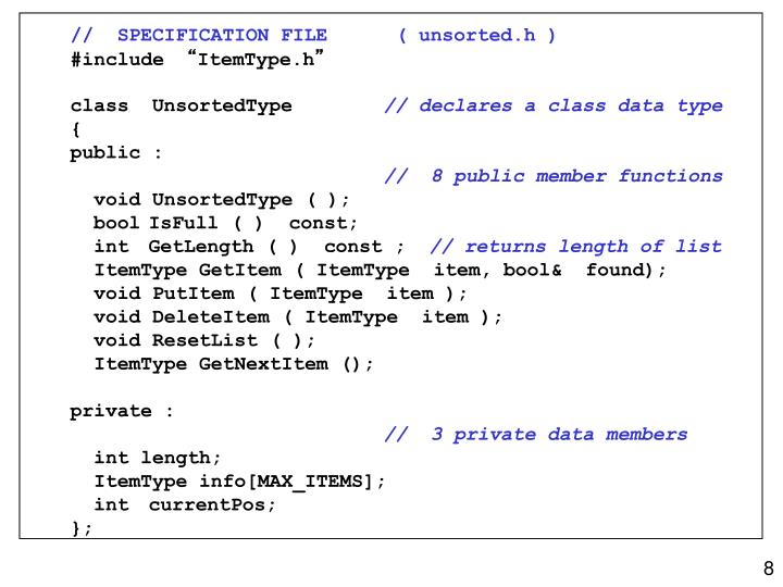 //  SPECIFICATION FILE ( unsorted.h )