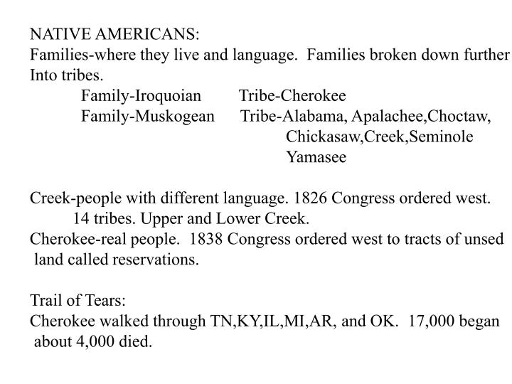 PPT - NATIVE AMERICANS: Families-where they live and language