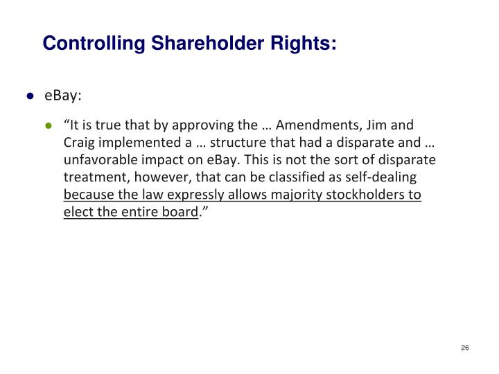 Controlling Shareholder Rights: