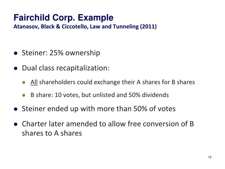 Fairchild Corp. Example