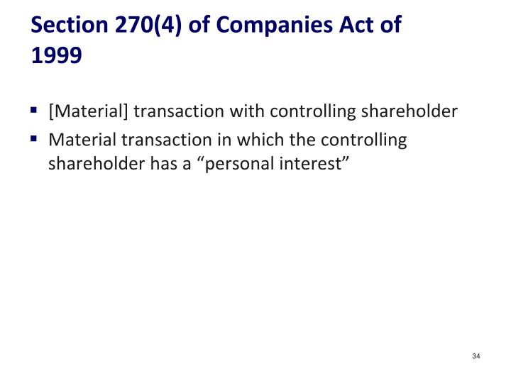 Section 270(4) of Companies Act of 1999