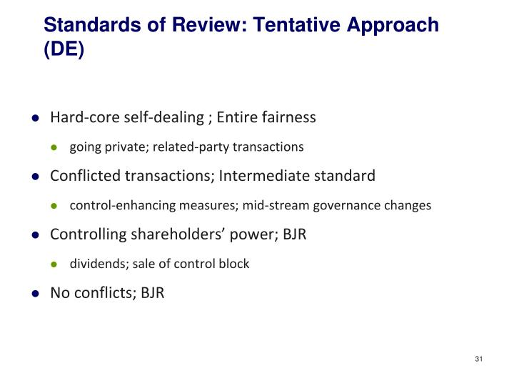 Standards of Review: Tentative Approach (DE)
