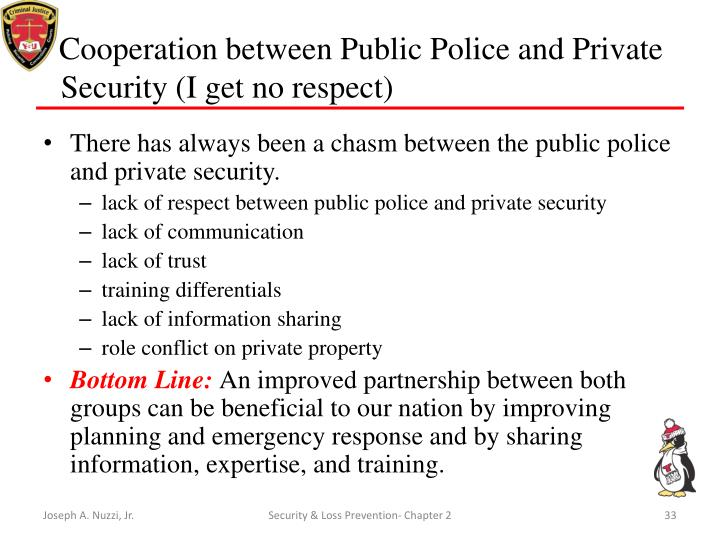 public policing vs private security Public policing versus private security kayla cook cja/500 november 8, 2009 mrs jancie graham abstract public policing and private security have several distinct differences public policing is the ability to enforce the law and maintain order in society.