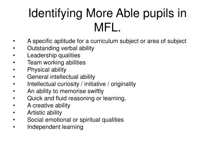 Identifying More Able pupils in MFL.