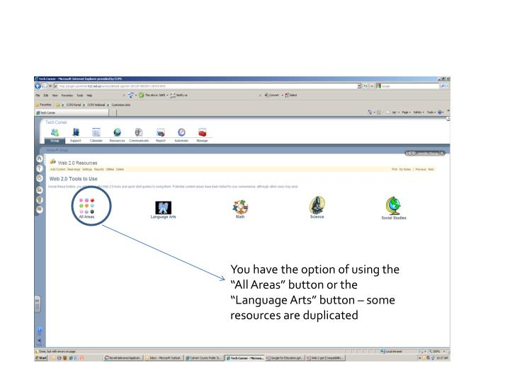 """You have the option of using the """"All Areas"""" button or the """"Language Arts"""" button – some resources are duplicated"""