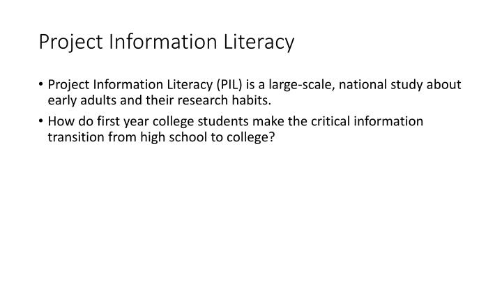 Project Information Literacy