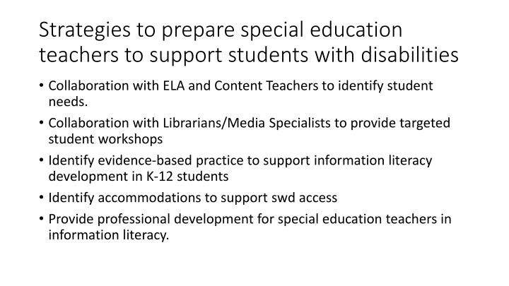 Strategies to prepare special education teachers to support students with disabilities
