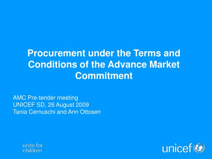 PPT - Procurement under the Terms and Conditions of the Advance