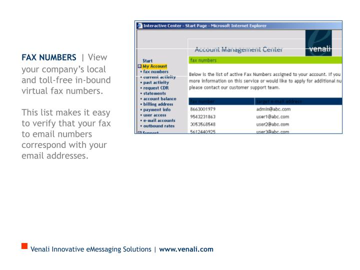 Fax Numbers