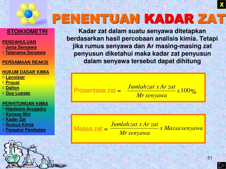Kadar zat dalam suatu senyawa ditetapkan berdasarkan hasil percobaan analisis kimia. Tetapi jika rumus senyawa dan Ar masing-masing zat penyusun diketahui maka kadar zat penyusun dalam senyawa tersebut dapat dihitung