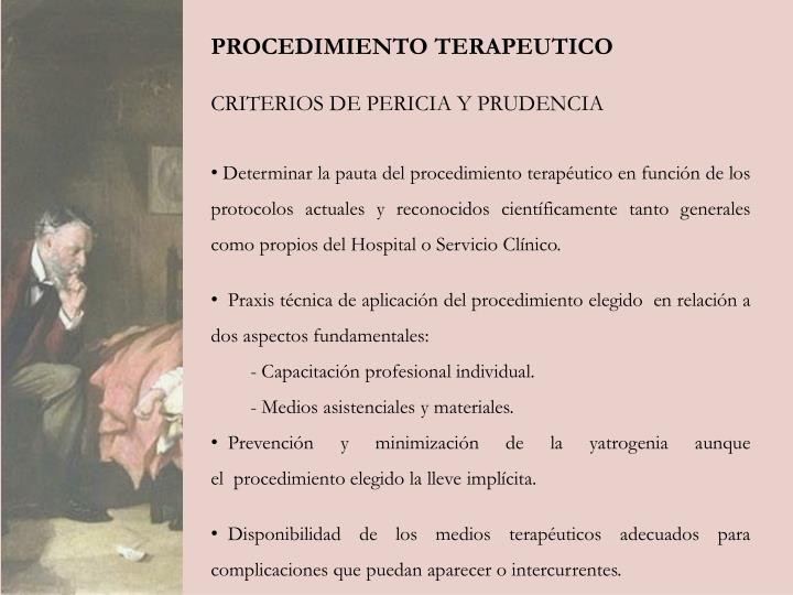 PROCEDIMIENTO TERAPEUTICO