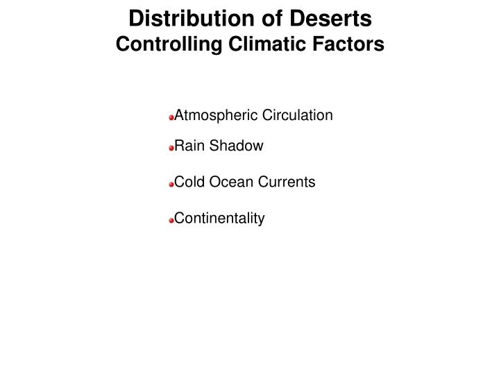 Distribution of Deserts