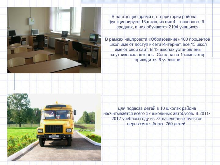 В настоящее время на территории района функционируют 13 школ, из них 4 – основных, 9 – средних, в них обучаются 2194 учащихся.