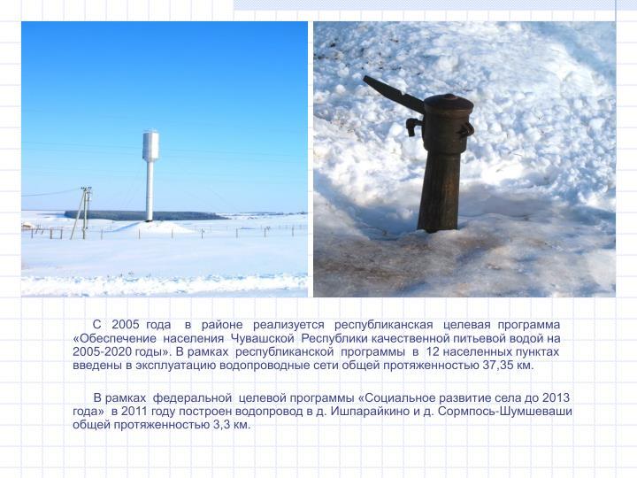 С   2005  года    в   районе   реализуется   республиканская   целевая  программа «Обеспечение  населения  Чувашской  Республики качественной питьевой водой на  2005-2020 годы». В рамках  республиканской  программы  в  12 населенных пунктах введены в эксплуатацию водопроводные сети общей протяженностью 37,35 км.