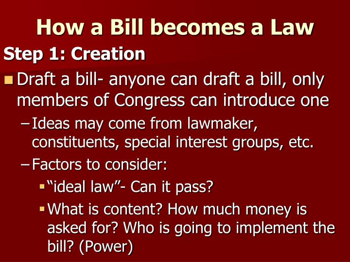 essay 8 chapter 12 how a bill becomes a law Chapter 17 and 18 test review answers multiple choice and completion 1 a long period of rising stock prices is known as a bull market 2 a major campaign issue in the 1928 election was prohibition.