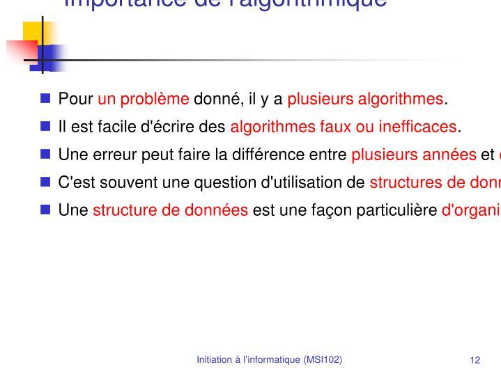 Importance de l'algorithmique