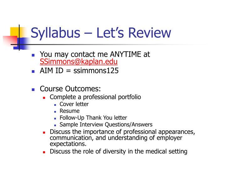 Syllabus let s review