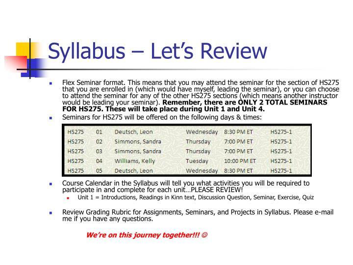 Syllabus let s review1