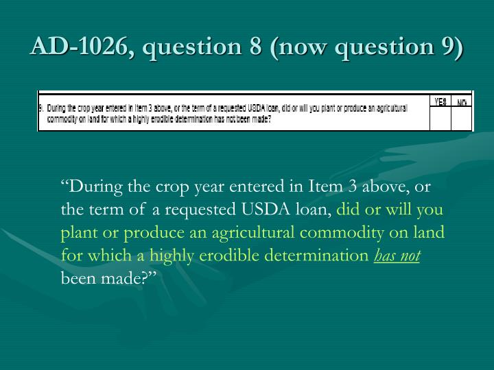 AD-1026, question 8 (now question 9)