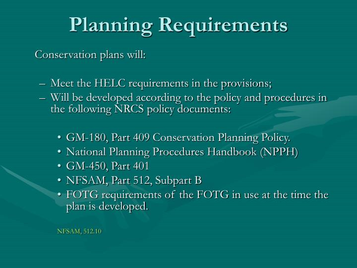 Planning Requirements