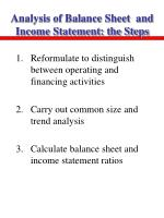 analysis of balance sheet and income statement the steps