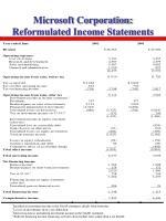microsoft corporation reformulated income statements