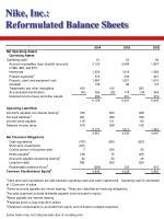 nike inc reformulated balance sheets