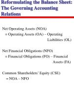 reformulating the balance sheet the governing accounting relations