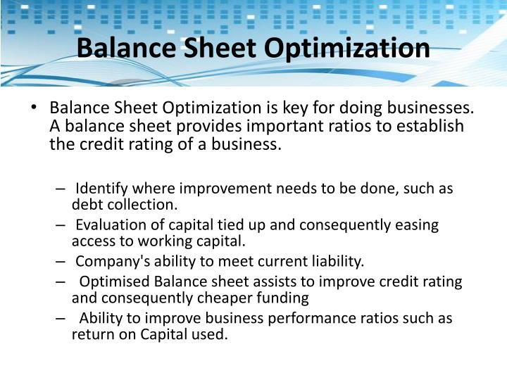 Balance Sheet Optimization