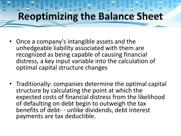 Reoptimizing the Balance Sheet