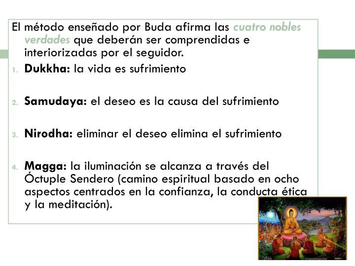 Elmétodoenseñado por Buda afirma las