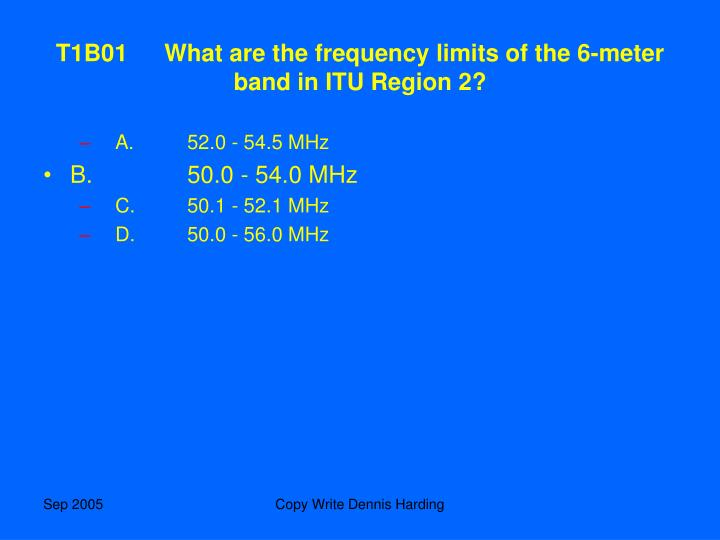 T1B01What are the frequency limits of the 6-meter band in ITU Region 2?