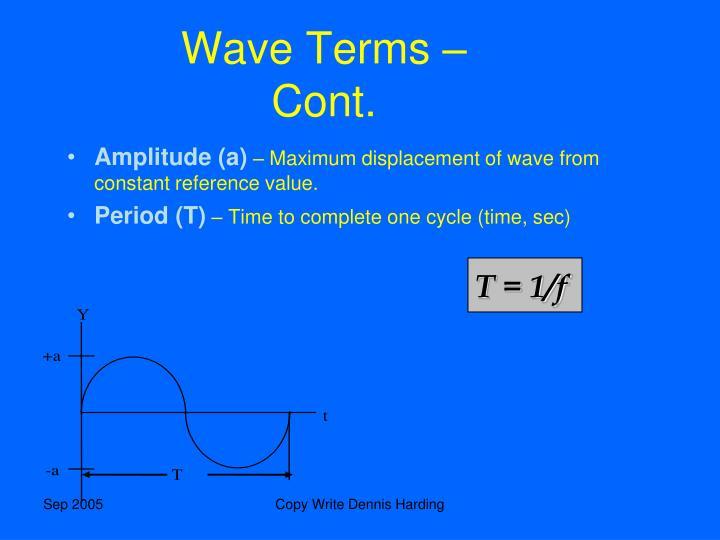 Wave Terms – Cont.