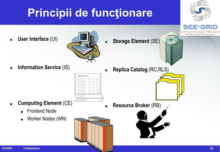 Principii de funcţionare