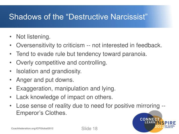 "Shadows of the ""Destructive Narcissist"""