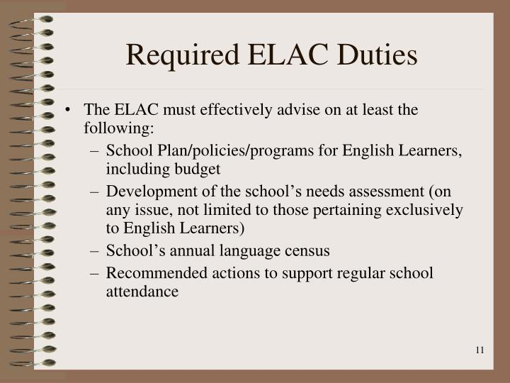 Required ELAC Duties